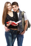 Young couple isolated on white background Royalty Free Stock Photos