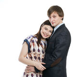 Young couple isolated on white background embracing Royalty Free Stock Photo