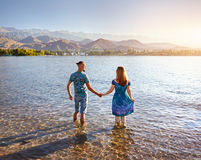 Young Couple at Issyk Kul Lake Stock Image