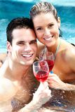 Young couple in jacuzzi. Royalty Free Stock Photo