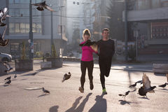 Young  couple jogging Royalty Free Stock Image