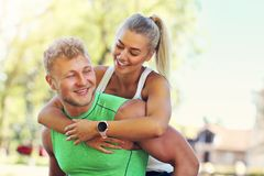 Young couple jogging in park Royalty Free Stock Photography