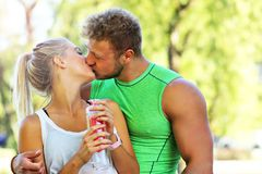 Young couple jogging in park Royalty Free Stock Photo