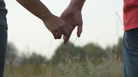 Young couple joining hands outdoor. Man and woman taking arms on nature background. Male and female hands comforting and. Stroking each other. Symbol of love stock footage