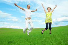 Young couple jump Stock Photo