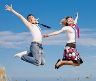 Young couple jumping Royalty Free Stock Photo