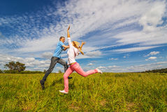 Young couple jumping Stock Photography