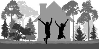 Young couple jumps near the house. Love, freedom, independence. Young couple jumps near the house among trees. Love, freedom, independence. Vector vector illustration