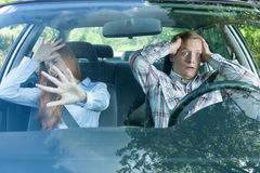Young couple just before accident Stock Photo