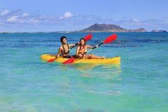 Young couple with a kayak Stock Photos
