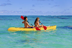 Young couple with a kayak Stock Photos