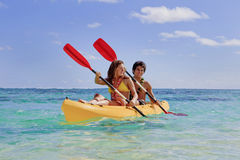 Young couple with a kayak Stock Photo