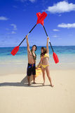 Young couple with a kayak Royalty Free Stock Photography
