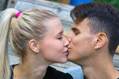 Young couple kiss detail Royalty Free Stock Photo