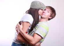 Young couple kissing. Royalty Free Stock Photos