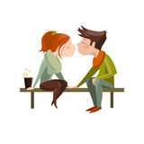 Young couple kissing on bench. Vector  illustration Stock Image