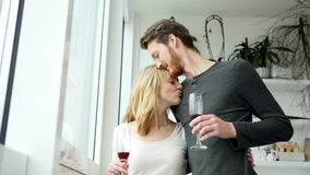 Young couple kissing and drinking red wine.  stock video footage