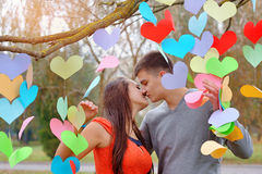 Young couple kissing in green park near tree Stock Photography