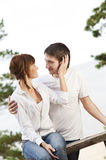 Young couple kissing outdoors Royalty Free Stock Photo