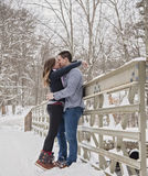 Young couple kissing outdoors in winter Stock Photos