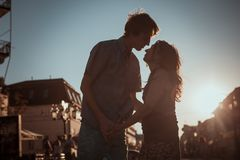 Young couple kissing over  sunset Royalty Free Stock Images