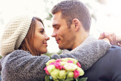 Young couple kissing in the park Stock Image