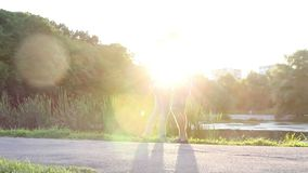 Young couple kissing at sunset, romantic love, sunshine kiss. Stock footage stock footage