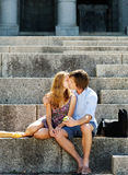 Young couple kissing in the sunshine Royalty Free Stock Image