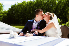 Young couple kissing at the table Stock Photos