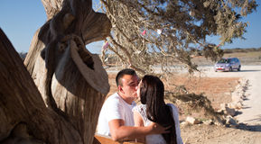 Young couple kissing under tree Royalty Free Stock Image