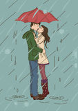 Young couple kissing under an umbrella. In the rain vector illustration