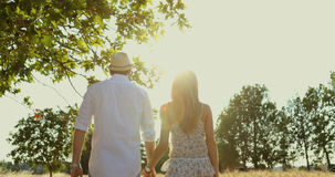 Young couple kissing and walking at sunset in wheat field. Man and woman in love in the middle of the nature hand to hand with trees and leaves / steady-cam stock video