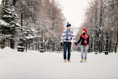 Young couple kissing on winter day Stock Image