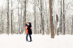 Young couple kissing on winter day Stock Photography