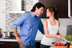 Young couple in the kitchen. Beautiful young couple in the kitchen stock image