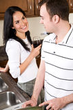 Young couple in the kitchen Stock Image