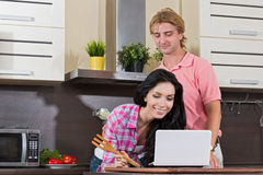 Young couple in the kitchen Stock Photo