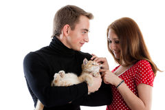 Young couple with a kitten. Royalty Free Stock Image