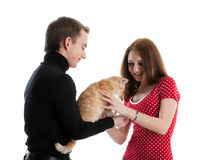 Young couple with a kitten. Royalty Free Stock Photography
