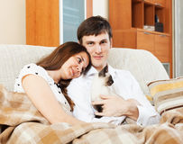 Young couple with kitten at home Royalty Free Stock Image