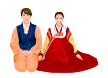 Young couple in Korean. Dress Stock Photos