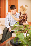 Young couple with laptop Stock Photography
