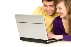 Young couple with laptop Royalty Free Stock Photo