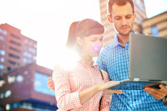 Young couple with laptop Royalty Free Stock Images