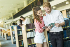 Young couple in the library Stock Images
