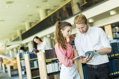 Young couple in the library Royalty Free Stock Image