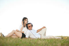 Young couple listening to music Stock Photo