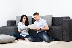 Young couple living room Stock Photos