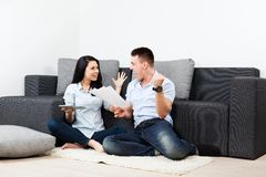 Young couple living room Stock Photography