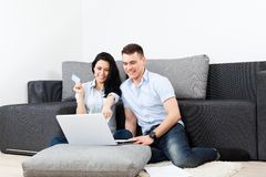 Young couple living room Royalty Free Stock Photos